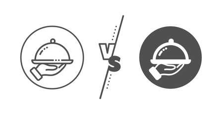 Dinner sign. Versus concept. Restaurant food line icon. Hotel room service symbol. Line vs classic restaurant food icon. Vector 向量圖像