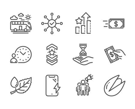 Set of Business icons, such as Smartphone charging, Money transfer, Brand ambassador, Ranking stars, Pay money, Shoulder strap, Time hourglass, Pistachio nut, Leaf dew, Bus travel. Vector