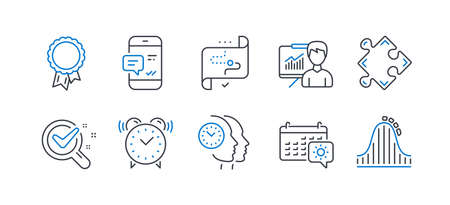 Set of Business icons, such as Success, Presentation, Chemistry lab, Alarm clock, Smartphone notification, Strategy, Travel calendar, Time management, Target path, Roller coaster. Vector