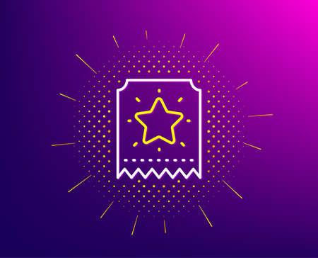 Loyalty star ticket line icon. Halftone pattern. Bonus points. Discount program symbol. Gradient background. Loyalty ticket line icon. Yellow halftone pattern. Vector