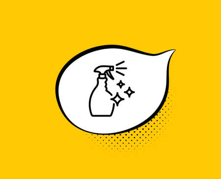 Cleaning spray line icon. Comic speech bubble. Washing liquid or Cleanser symbol. Housekeeping equipment sign. Yellow background with chat bubble. Washing Cleanser icon. Colorful banner. Vector  イラスト・ベクター素材