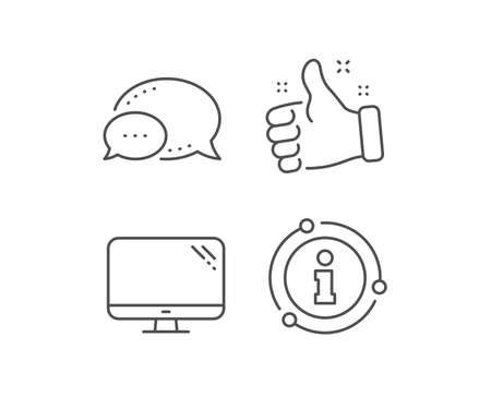 Computer line icon. Chat bubble, info sign elements. PC component sign. Monitor symbol. Linear computer outline icon. Information bubble. Vector