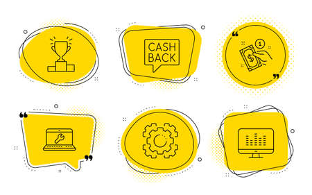 Payment method, Money transfer and Music making signs. Chat bubbles. Laptop repair, Winner podium and Seo gear line icons set. Computer service, Competition results, Cogwheel. Give money. Vector Illustration
