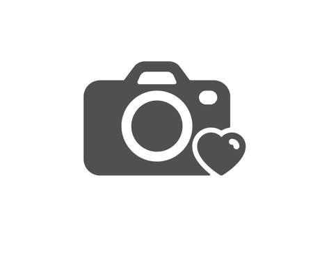 Love photography sign. Photo camera icon. Heart symbol. Classic flat style. Simple photo camera icon. Vector