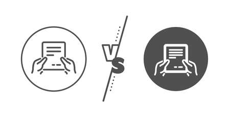 Agreement Text File sign. Versus concept. Hold Document line icon. Contract with signature symbol. Line vs classic receive file icon. Vector Ilustração