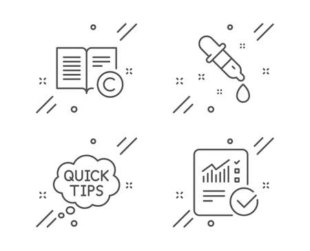 Chemistry pipette, Copyright and Quick tips line icons set. Checked calculation sign. Laboratory, Copywriting book, Helpful tricks. Statistical data. Education set. Vector