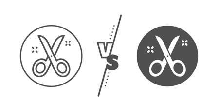 Cutting tool sign. Versus concept. Scissors line icon. Tailor utensil symbol. Line vs classic scissors icon. Vector Illustration