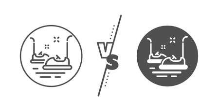 Amusement park sign. Versus concept. Bumper cars line icon. Line vs classic bumper cars icon. Vector