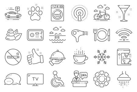 Hotel service line icons. WiFi, Air conditioning and Coffee maker machine. Spa stones, swimming pool and bike rental icons. Hotel parking, safe and shower. Food, coffee cup. Line signs set. Vector Illustration