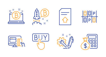 Online payment, Buying and Upload file line icons set. Engineering, Parking place and Bitcoin signs. Bitcoin project, Finance calculator symbols. Money, E-commerce shopping. Technology set. Vector  イラスト・ベクター素材
