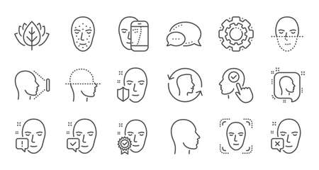 Face recognize line icons. Biometrics detection, Face id and scanning. Identification linear icon set. Quality line set. Vector Ilustração