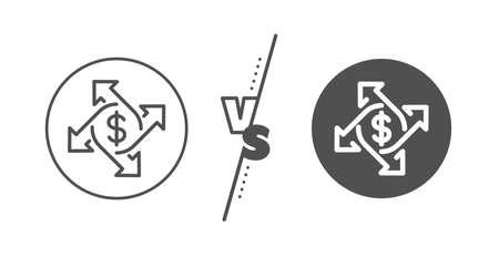 Dollar sign. Versus concept. Payment exchange line icon. Finance transfer symbol. Line vs classic payment exchange icon. Vector Vettoriali