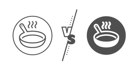 Cooking sign. Versus concept. Frying pan line icon. Food preparation symbol. Line vs classic frying pan icon. Vector