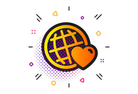 Friendship love sign. Halftone circles pattern. Friends world icon. Assistance business symbol. Classic flat friends world icon. Vector Illustration