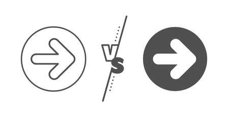 Forward Arrowhead symbol. Versus concept. Next arrow line icon. Navigation pointer sign. Line vs classic next icon. Vector