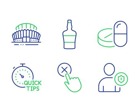 Reject click, Medical drugs and Quick tips line icons set. Sports stadium, bottle and Security signs. Delete button, Medicine pills, Helpful tricks. Championship arena. Business set. Vector Illustration