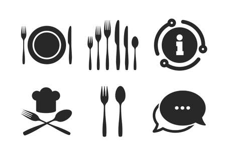 Chief hat sign. Chat, info sign. Plate dish with forks and knifes icons. Crosswise cutlery symbol. Dessert fork. Classic style speech bubble icon. Vector