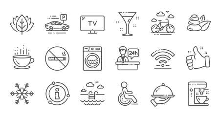 Hotel service line icons. WiFi, Air conditioning and Coffee maker machine. Spa stones, swimming pool and hotel parking icons. Linear set. Quality line set. Vector Illustration