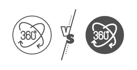 Full rotation sign. Versus concept. 360 degree line icon. VR technology simulation symbol. Line vs classic full rotation icon. Vector 向量圖像