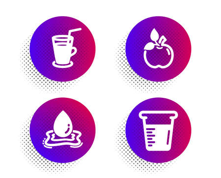 Eco food, Water splash and Cocktail icons simple set. Halftone dots button. Cooking beaker sign. Organic tested, Aqua drop, Fresh beverage. Water. Food and drink set. Vector Ilustração