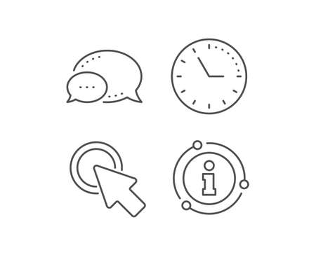 Click here line icon. Chat bubble, info sign elements. Push the button sign. Web cursor symbol. Linear click here outline icon. Information bubble. Vector Illustration