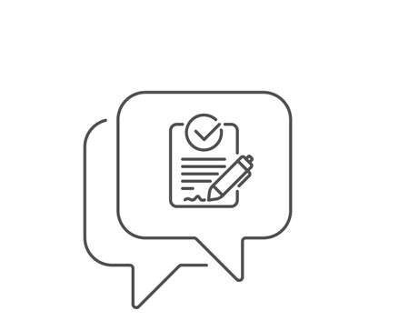 Rfp line icon. Chat bubble design. Request for proposal sign. Report document symbol. Outline concept. Thin line rfp icon. Vector