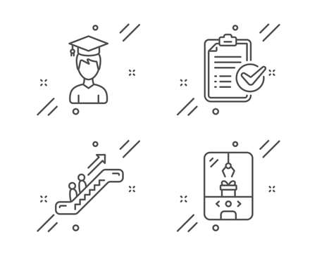 Student, Escalator and Survey checklist line icons set. Crane claw machine sign. Graduation cap, Elevator, Report. Attraction park. Business set. Line student outline icon. Vector