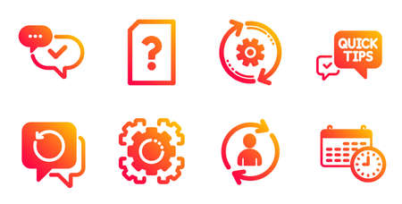 Recovery data, Seo gear and Cogwheel line icons set. Unknown file, Approved and Quick tips signs. Person info, Calendar symbols. Backup info, Cogwheel. Business set. Vector