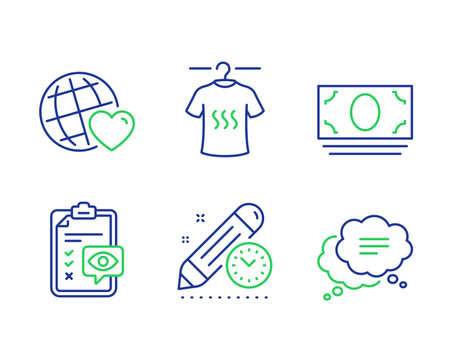 Friends world, Eye checklist and Project deadline line icons set. Dry t-shirt, Cash money and Text message signs. Love, Optometry, Time management. Laundry shirt. Business set. Vector Ilustracja