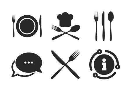 Signe de chapeau de chef. Chat, signe d'information. Plat de plat avec des icônes de fourchettes et de couteaux. Symbole de coutellerie en croix. L'étiquette à manger. Icône de bulle de discours de style classique. Vecteur Vecteurs