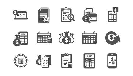 Accounting icons. Report, Calculator and Checklist. Money classic icon set. Quality set. Vector Vector Illustration