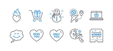 Set of Holidays icons, such as Shopping cart, Heart flame, Online shopping, Only you, Snowman, Search flight, Flight sale, Smile, Miss you, Winner ticket line icons. Gift box, Love fire. Vector