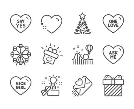 Set of Holidays icons, such as Ask me, Ferris wheel, Christmas tree, Surprise, Love letter, Heart, One love, Creative idea, Smile, Nice girl, Roller coaster, Say yes line icons. Ask me icon. Vector Ilustracja
