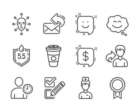 Set of Business icons, such as Smile, Face biometrics, Doctor, Payment message, Share, Time management, Ph neutral, Takeaway coffee, Reward, Checkbox, Smile chat, Share mail line icons. Vector