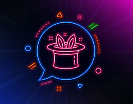 Hat-trick line icon. Neon laser lights. Magic tricks with hat and rabbit sign. Illusionist show symbol. Glow laser speech bubble. Neon lights chat bubble. Banner badge with hat-trick icon. Vector
