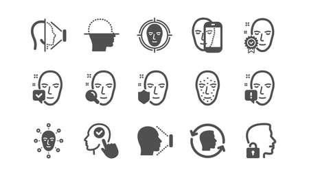 얼굴 인식 아이콘. 생체 인식 감지, 얼굴 ID 및 스캔. 식별 클래식 아이콘 세트입니다. 품질 세트입니다. 벡터