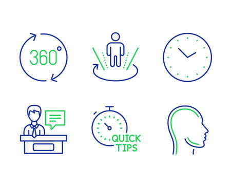 Time, Exhibitors and 360 degrees line icons set. Augmented reality, Quick tips and Head signs. Clock, Information desk, Full rotation. Virtual reality. Science set. Line time outline icons. Vector