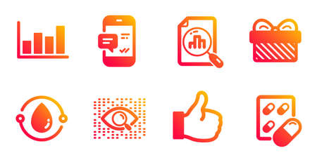 Gift, Like and Artificial intelligence line icons set. Report diagram, Smartphone notification and Analytics graph signs. Cold-pressed oil, Capsule pill symbols. Present, Thumbs up. Vector Çizim
