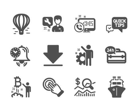 Set of Technology icons, such as Touchscreen gesture, 24h service, Air balloon, Web call, Bitcoin project, Quick tips, Downloading, Time management, Repairman, Check investment, Employee. Vector