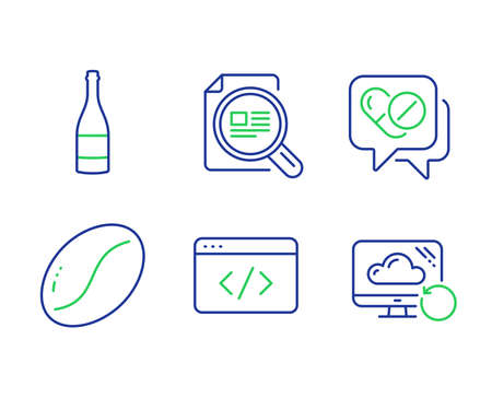 Seo script, Check article and Medical drugs line icons set. Champagne bottle, Coffee beans and Recovery cloud signs. Programming, Magnifying glass, Medicine pills. Anniversary alcohol. Vector Иллюстрация
