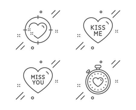Kiss me, Miss you and Heart target line icons set. Heartbeat timer sign. Love sweetheart, Love heart. Love set. Line kiss me outline icon. Vector