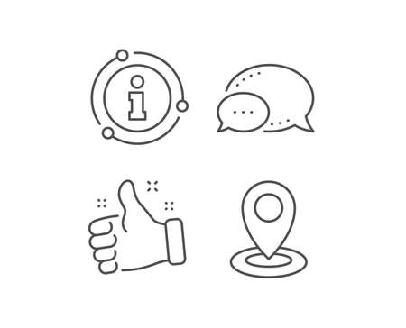 Location line icon. Chat bubble, info sign elements. Map pointer sign. Linear location outline icon. Information bubble. Vector