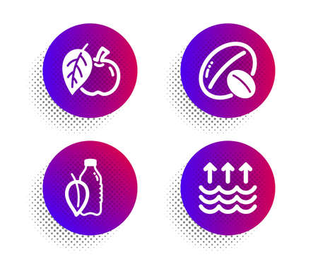 Apple, Soy nut and Water bottle icons simple set. Halftone dots button. Evaporation sign. Fruit, Vegetarian food, Mint leaf drink. Global warming. Nature set. Classic flat apple icon. Vector Illustration