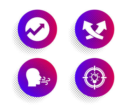 Intersection arrows, Audit and Breathing exercise icons simple set. Halftone dots button. Idea sign. Exchange, Arrow graph, Breath. Solution. Science set. Classic flat intersection arrows icon. Vector Ilustracja