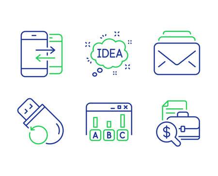 Conjunto de iconos de línea de comunicación de correo, encuesta y teléfono. Señales de informe de idea, memoria flash y contabilidad. Mensajes nuevos, Mejor respuesta, Llamadas entrantes y salientes. Mensaje creativo. Vector Ilustración de vector
