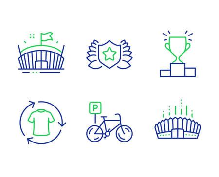 Bicycle parking, Arena and Change clothes line icons set. Laureate, Winner podium and Arena stadium signs. Bike park, Sport stadium, Shirt. Award shield. Sports set. Vector Standard-Bild - 135667552