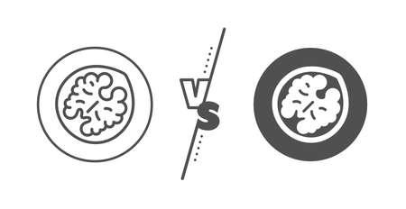 Tasty nut sign. Versus concept. Walnut line icon. Vegan food symbol. Line vs classic walnut icon. Vector