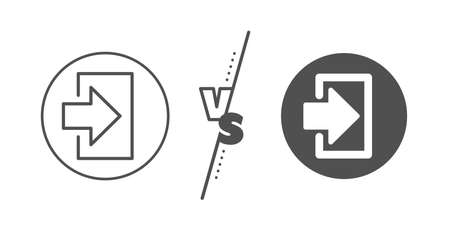 Sign in symbol. Versus concept. Login arrow line icon. Navigation pointer. Line vs classic login icon. Vector