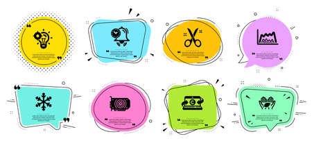 Scissors, Seo idea and Copywriting notebook line icons set. Chat bubbles with quotes. Fair trade, Time management and Snowflake signs. Trade chart, Gpu symbols. Cutting tool, Performance. Vector Stock Vector - 135673189