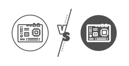 Computer component hardware sign. Versus concept. Motherboard line icon. Line vs classic motherboard icon. Vector